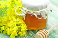 Jar of delicious honey in a jar with rapeseed flowers Royalty Free Stock Image