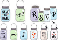 Jar designs, vector set. Save the date invitation designs with jars, vector set Stock Photos