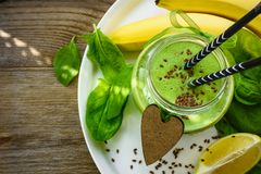Healthy green smoothies with spinach and banana. royalty free stock images