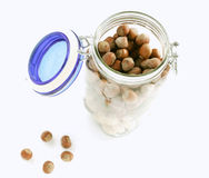 Jar with different nuts Stock Photo