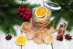 Jar with dried oranges Stock Photo