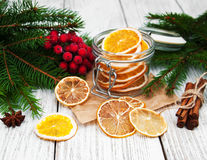 Jar with dried oranges Royalty Free Stock Photography