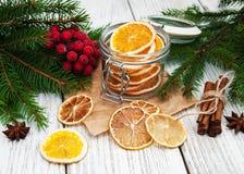 Jar with dried oranges Stock Photos