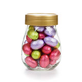 Jar with Easter eggs Stock Photos