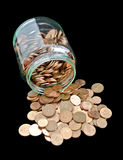 Jar with Euro-cent coins Stock Photography
