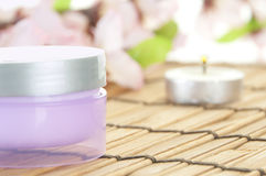 Jar of face cream. Jar of cream in spa setting Stock Photography