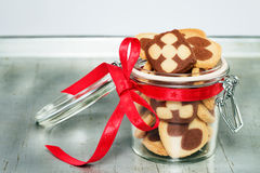 A jar filled with christmas cookies Royalty Free Stock Photos