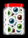 Jar filled with eyeballs. Jar filled with colorful eyeballs Stock Photos