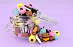 Jar Of Liquorice Allsorts Candy. Jar filled with  traditional liquorice allsorts candy Stock Images