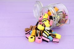 Jar Of Liquorice Allsorts Candy Royalty Free Stock Photography
