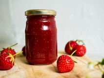 Jar of home made strawberry jam Stock Photography