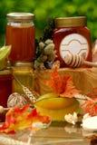 Jar of fresh honey and starfruit Royalty Free Stock Photography