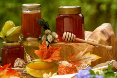 Jar of fresh honey and starfruit Stock Photography