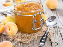 Jar of fresh made Apricot Jam Royalty Free Stock Photography