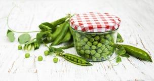 Jar with fresh peas Stock Image