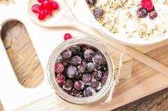 Jar frozen blackcurrant top view Royalty Free Stock Photos