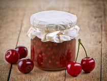 Jar of fruit and cherry jam Stock Photo