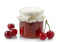 Jar of fruit jam with cherries Royalty Free Stock Photo