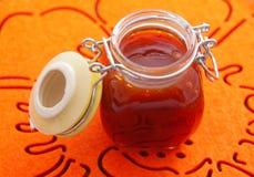 Jar with fruit jam. Shot from above. Horizontal shot Royalty Free Stock Photos