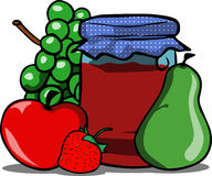 Jar with fruits Stock Images