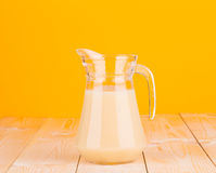 Jar full of banana juice. Royalty Free Stock Photography