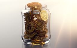 Jar full of bitcoins. Good habits in storing cryptocurrencies concept. Realistic 3D rendering vector illustration