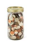 Jar Full Of Change On White Background Royalty Free Stock Photos