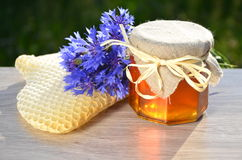 Jar full of delicious fresh honey piece of honeycomb and wild flowers Royalty Free Stock Images