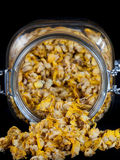 Jar full of dried mullein Royalty Free Stock Image