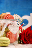 Jar full of macaroons for Valentines Day Royalty Free Stock Photos