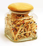 Jar full of matchsticks Stock Photography