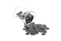 Jar full of one Zloty polish coins Royalty Free Stock Photos