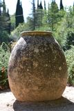Jar in the garden. Earthenware, placed in a Stock Image