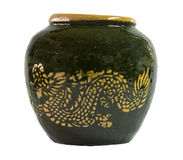 Jar. Glazed water jar with dragon pattern Royalty Free Stock Photo