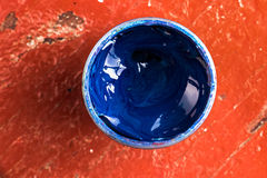 Jar of gouache paint Royalty Free Stock Images