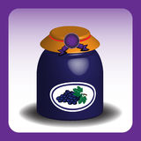Jar with grape marmalade Royalty Free Stock Photos