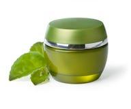 Jar of green cream Stock Image