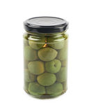 Jar of green olives isolated Royalty Free Stock Image