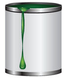 Jar with green paint Royalty Free Stock Photos