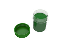 Jar of green paint isolated on white background, 3d rendering. Illustration Stock Photos