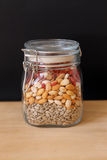Jar of healthy seeds. And berries Stock Photo