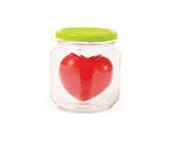 Jar with heart. Romantic concept Stock Photo