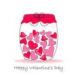 Jar of hearts, i love you written valentine 's day greeting card Royalty Free Stock Photography