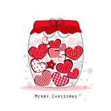Jar of hearts and snowflakes, Happy New Year greeting card vector illustration Stock Photos