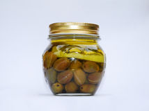 Jar of Home Made Lemon Olives Royalty Free Stock Image