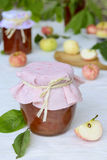 Jar of homemade apple jam Royalty Free Stock Photos