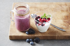 Jar of homemade fruit smoothie and yoghurt,  studio Stock Images