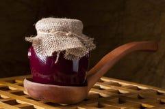 Jar of homemade jam. Stock Photos