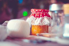 Jar of homemade jam. A jar of homemade jam for a gift Stock Photos