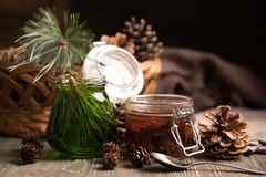 A jar of homemade jam made of pine cones and cedar honey on a dark wooden background. Royalty Free Stock Image